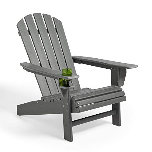 VonHaus Adirondack Chair – Traditional Wood Effect - Made from Durable All Weather Eco-Friendly Recycled Material - Outdoor Garden Furniture for Patio, Decking, Lawn - Grey