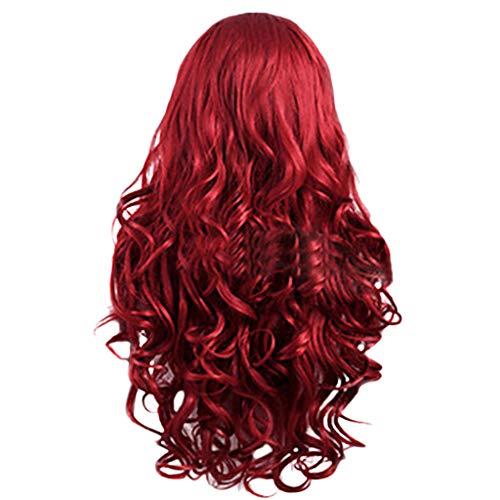 Damen Perücken Frauen Rotes Brasilianisches Langes Gewelltes Gelocktes,Nourich Faser Haarverlängerung Perücke Gewellte Haare Langhaar Haar Wig Haarteil (rot)
