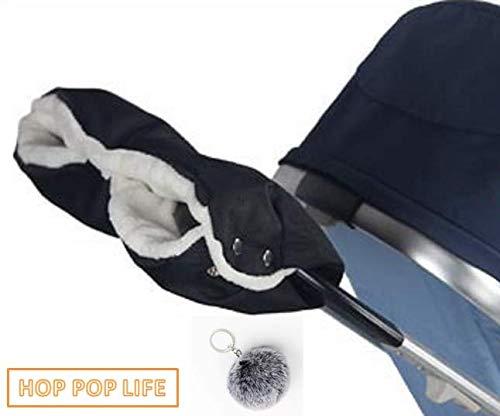 【HOP POP LIFE】ほかほかベビーカー用 ハンドマフ 防寒 保温 防水 (ブラック) ふわふわチャーム付き