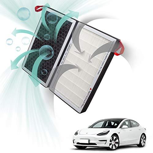 TAPTES Tesla Model 3 Filtros HEPA de repuesto para el habitáculo del coche, filtro de aire de cabina para purificador de aire para modelo 3 2017 2018 2019 2020 2021 (2 unidades)