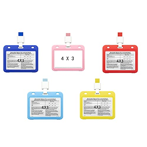 Vaccination Card Protective Cover 4 X 3 Inches with Lanyard Immune Record Vaccine Card Holder Horizontal Style Horizontal Double-Sided Transparent PP Plastic Sleeve Badge Card( Five Packs)