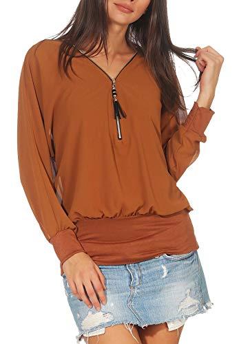 Malito Damen Bluse im Fledermaus Look | Tunika mit Zipper | Kurzarm Blusenshirt mit breitem Bund | Elegant - Shirt 6297 (Camel)