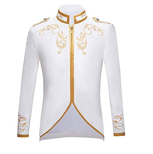 Koningshuis in Britse stijl Prinz Pure White Velvet Gold borduurwerk blazer bruiloft bruidegom slim fit pak jas zanger mantel