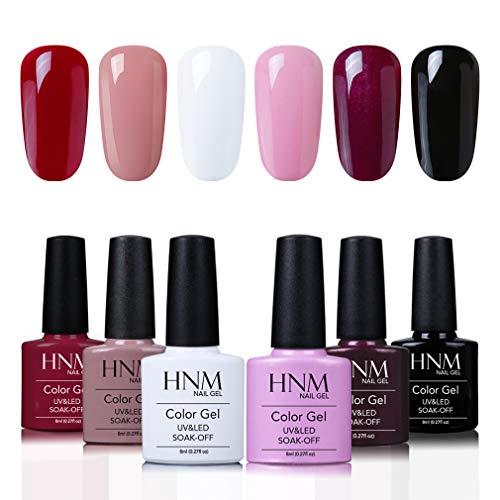 HNM Esmaltes Semipermanentes en Gel UV LED, 6 Colores Kit de Esmaltes en Gel para Uñas 8ml 001