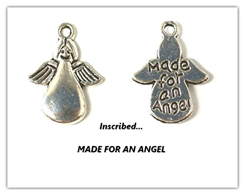 JSB ~10 x Antique Silver 'MADE FOR AN ANGEL' (words inscribed on reverse side) Angel Charms. Jump Rings for Attachments *Perfect for Christmas Card, CARD MAKING EMBELLISHMENTS* ~~~ALSO AVAILABLE IN ANTIQUE BRONZE~~~(Ref:10A34)