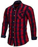 Men's 100% Cotton Regular-Fit Long-Sleeve Button-Down Buffalo Plaid Shirt with Pocket, Red/Royal Blue, US S, EUR M