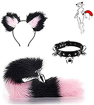 3Pcs Set Faux Animals Tail Bụṭṭ Ᵽlụg with Cat Ears Headband Collar Choker Masquerade Halloween Costume Cosplay Props GHYBBAA  Color   Pink Size   Medium