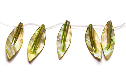 Olive Green Mother-of-Pearl Top Drilled Leaf Shell Beads Size:45x20mm