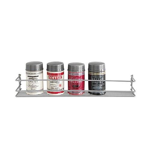 Metaltex 364631039 1-Etage Pepito Gewürzregal, Polytherm beschichtet, silber, 5 x 36 x 8 cm