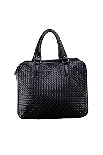 ByTheR Men's Fashion 8208 Grid Pattern Tote Leather Urban Chic Bag