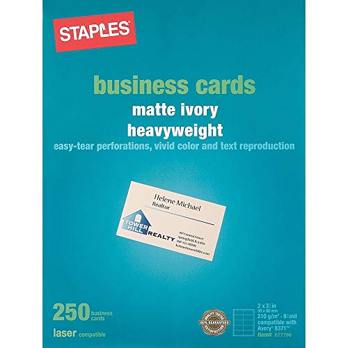 Staples 677798 Laser Business Cards Ivory 250/Pk