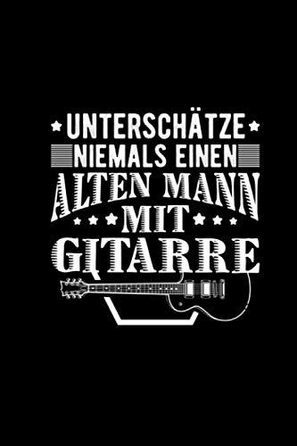 Alten Mann Mit Gitarre: Notizbuch A5 Kariert Schreibheft Musiker Gitarrenlehrer Gitarrist Notizheft Notizblock Journal