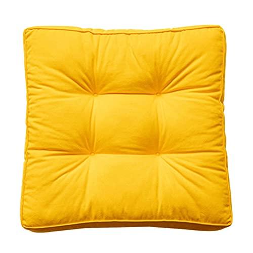 cuscino per panchina Cuscino Quadrato per Sedili a Pavimento Spesso, Cuscino Trapuntato Spesso Solido, Tessuto In Tela di Cotone, Imbottitura In Cotone Perlato, Design(Size:40*40,Color: yellow*2pcs )