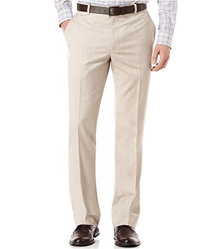 Perry Ellis Mens Flat-Front Texture Dress Pant Slacks, Beige, 32W x 34L
