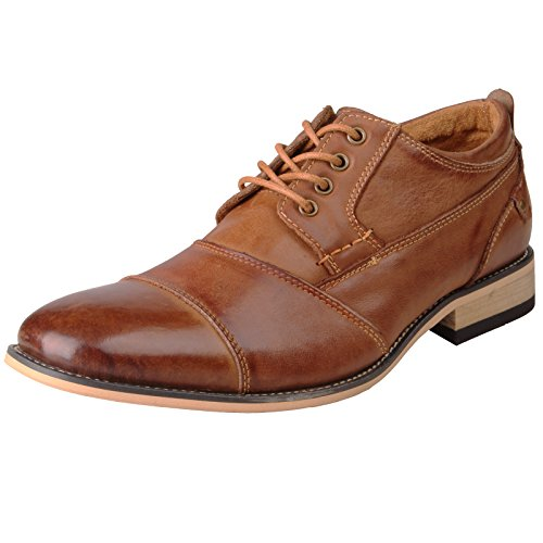 Kunsto Men's Leather Cap Toe Oxford Shoes Brown