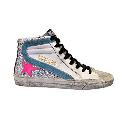 Golden Goose Sneakers Slide Blanco Purpurina Plata