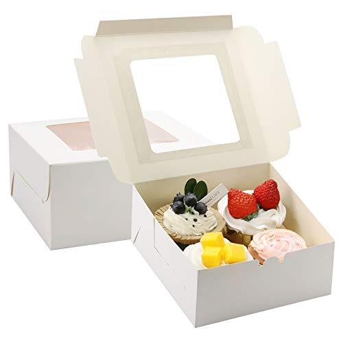 Leslady Cupcake Box Weiß Kuchen-Karton Muffin-Box Geschenkbox 20 Stücke 16 x 16 x 7.5cm Verpackungen mit Fenster für Geburtstag, Hochzeit, Keks, Gebäck