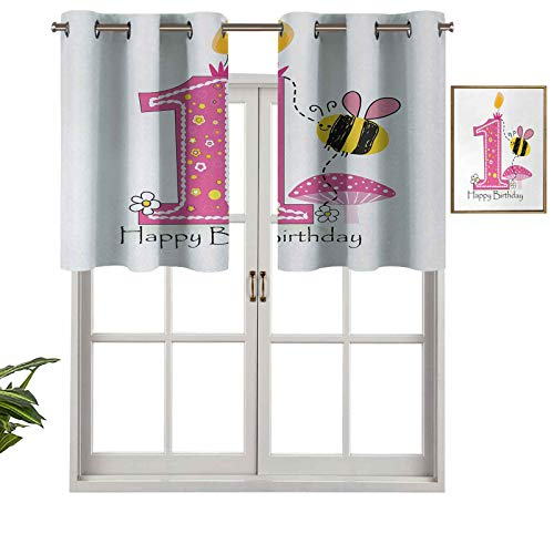 Hiiiman Short Curtains Grommet Top Elegant Panels Cartoon Style Image with The Bees Party Cake and The Candle Print, Set of 1, 52'x18' Decoration for Bathroom/Bedroom/Living Room