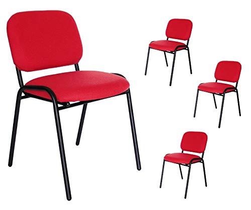 Mundo In Paquete de 4 sillas de visita tapizada en tela 104z (rojo)