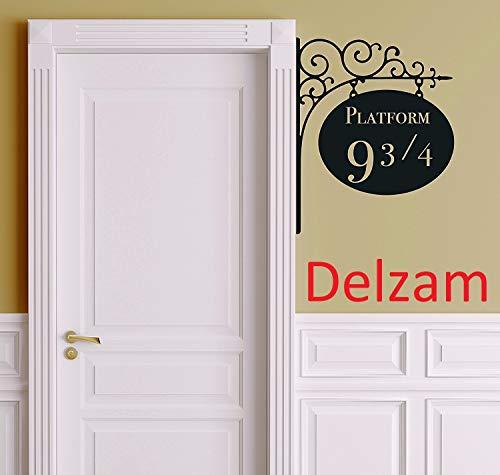 Delzam Platform 9 3/4 Door Wall Decor (Version 2) - Wall Decal Vinyl Sticker (11'X13' Black) Peel n Stick Decal Merchandise Gift