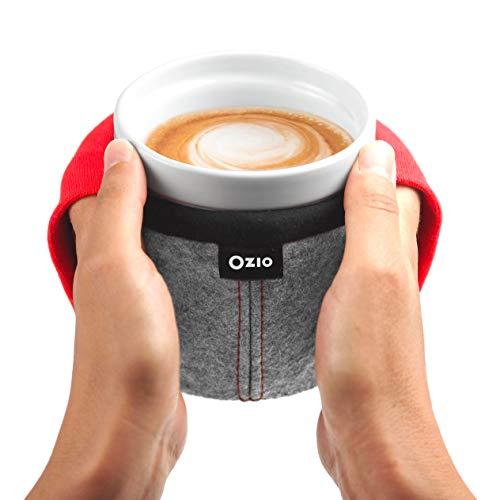 TAMA taza calentador de manos - Taza de cerámica Gres forrada de lana y tejido elástico que da la bienvenida a las manos - Taza grande, taza te, Tazas de café, taza de desayuno grande 500 ml