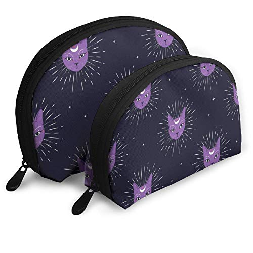 JUKIL Violettes Katzengesicht Mit Mond Am Nachthimmel Kosmetiktasche Clutch Tragbare Taschen Handtasche Organizer Mit Reißverschluss 2St