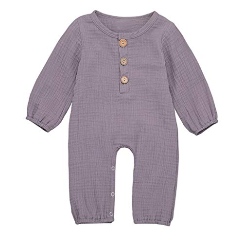 LEXUPE Neugeborene Baby Boy Girl Baumwolle Leinen Feste Strampler Overall Kleidung Outfits(Lila,70)