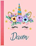Dawn: Personalized Unicorn Handwriting Notebook Large Size 8.5'' x 11'' x 110 Pages For Girls and Blue Name Good Quality White Paper Makes A Wonderful Gift For Family and Friends