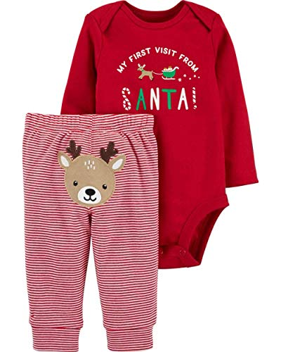 Carter's Winter Holiday 2-Piece Christmas My First Visit from Santa Bodysuit and Striped Pants with Embroidered Reindeer Set (Red, 3 Months)