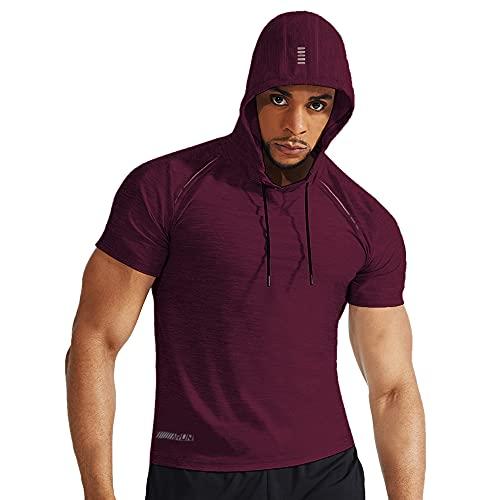Herren Fitness Kurzarm Kapuzen Laufende T-Shirts Bodybuilding Sports Dry Fit Tops Weinrot L