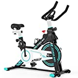 Afully Indoor Exercise Bike, Indoor Cycling Stationary Bike Belt Drive with Adjustable Resistance, LCD Monitor, Pad/Phone Holder, Comfortable Cushion Stable and Quiet for Home Cardio Workout (A180)