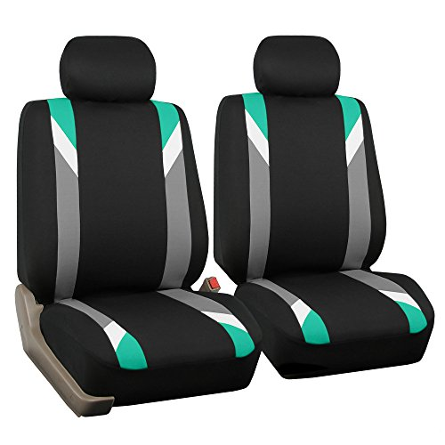 Mint//Color Black- Fit Most Car SUV w Gift Airbag Compatible Truck or Van FH Group FB068102 Premium 3D Air Mesh Seat Covers Pair Set