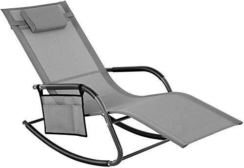 Ldoons Gartenstuhl, Sonnenliege, Schaukelstuhl mit Kopfstütze und Seitentasche, Eisengestell, Kunstfasergewebe, atmungsaktiv, komfortabel, grau, bis 150 kg belastbar