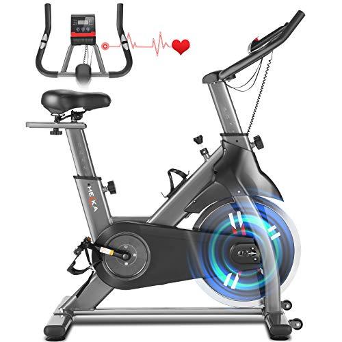 HEKA Cyclette Casa Bicicletta per Allenamento, Spinning Bike Cyclette da Casa, Cyclette Professionale da Interno, Cyclette Resistenza Regolabile con Volano 18Kg, Monitor LCD, Peso Massimo 200kg