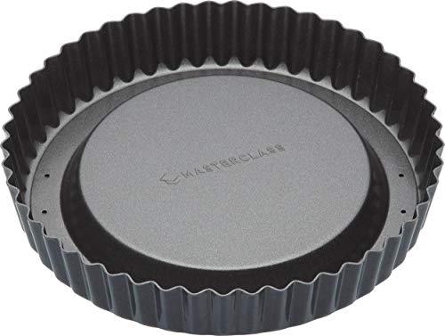 masterclass Master Class Antihaft-Tortenbodenform/Rundbackform mit hohem, gewelltem Rand und losem Boden, Stahl, Grau, 20 x 20 x 3 cm