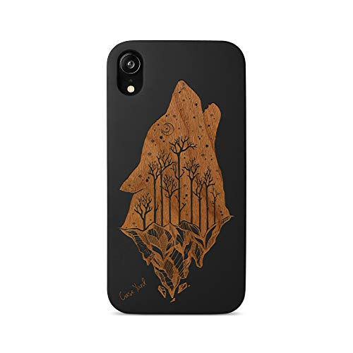 iPhone Xr Cases Wood Case Yard iPhone Xr Case Slim Fit Wood Xr iPhone Case Howling Wolf Design Shockproof Wood Grain Premium Protective Girls Boys Men and Women Cover Xr Phone Case
