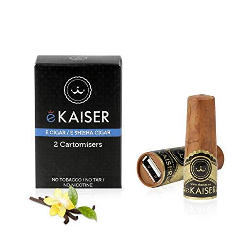 eKaiser Elektronische Zigarre 2er Pack Cartomizer, Vanilla Flavour, E Zigarre E Shisha Einweg, 30/70 VG/PG Premium-Geschmacksrichtungen, 700 ZÜGE für eKaiser aufladbare Zigarre Cloud Chaser Vape