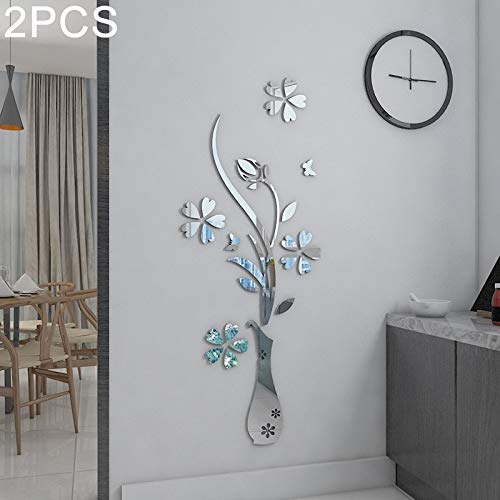 TANG AI MING 2 PCS Creative 3D Vaas Style Mirror DIY Wall Sticker Set, Afmetingen: 40 x 60 cm (Gold) Huis (Color : Silver)