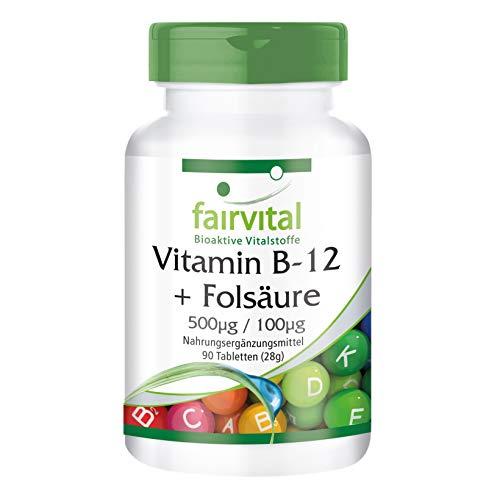 Vitamina B-12 con Ácido Fólico - VEGANO - Dosis elevada - 90 Comprimidos - Calidad Alemana