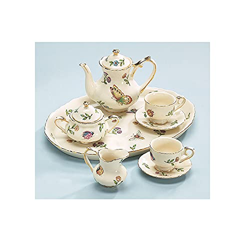 Miniature Porcelain Insect Teaset Beautiful Collectible(Pattern may Vary :Butterfly/Dragonfly/lady bugs/bees )