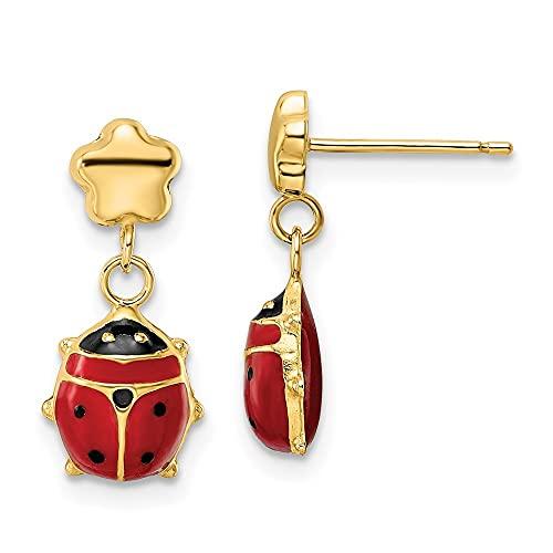Pendientes colgantes de oro pulido de 14 quilates con diseño de mariquita, con colgante de gota larga, mide 18 x 7,75 mm de ancho, joyería de regalo para mujeres