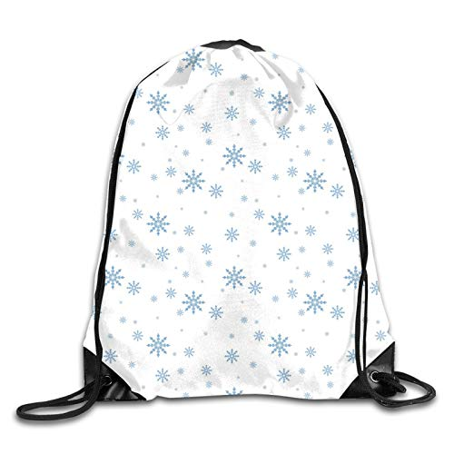 Drawstring Gym Bag Backpack,Cold December Design Simple Seasonal Snowy Weather Ice Frost Gentle Winter Icons,Rucksack for School Sports Travel Women Children Birthday Present