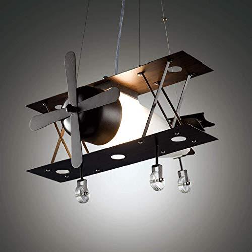 FCHMY Araña de Barra Industrial Retro, luz de Techo para habitación Infantil de avión, luz Colgante de Metal Retro Creativa, Luces Colgantes led para Dormitorio para Comedor Negro 44 * 24 cm