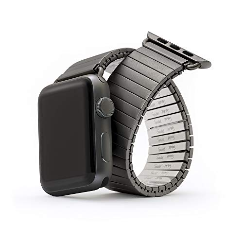 Twist-O-Flex Metal Expansion 42mm / 44mm Stretch Watch Band for The Apple Watch in Black Stainless Steel for Series 1, 2, 3, 4 and 5 in XS Length by Speidel