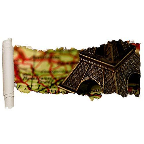 ZhuHZ Etiqueta de la pared Paris Map Life Vinyl Ripped Hole Girl Boy D285