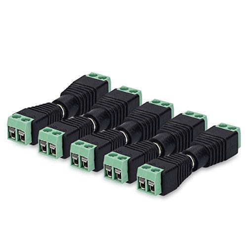 kwmobile 5X RCA Stecker Adapter Set - Verbinder Kabel auf Cinch Anschluss - Draht Steckverbinder 2 polig - Cinch Buchse Cinchstecker - RCA-Stecker