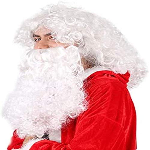 Peluca, Peluca De Navidad Barbas Blancas Y Peluca Disfraz De Disfraces De Santa Accesorios Ideales Para Fiestas Y Festividades De Navidad Regalo Para Amigos