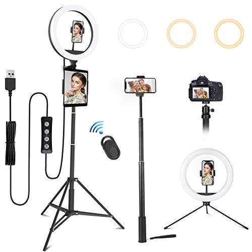MINLUK Aro de luz LED, 10' Anillo de luz con Trípode 164cm para Tableta/Móvil/Cámara con Control Remoto, 3 Modos Luz 10 Niveles Brillo para Maquillaje, Transmisión en Vivo, Selfie, Youtube, TIK Tok