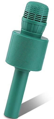 Ankuka Micrófono para niños, máquina de karaoke de mano con altavoz, micrófono inalámbrico Bluetooth karaoke, función dúo para doble diversión, voz mágica, juguete de música (Verde)