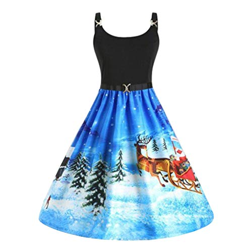 beetleNew Womens Dress Robe de Noël élégante pour Femme avec imprimé Renne et élan, Taille Haute, plissée, décontracté col en V, sans Manches, pour soirée, Cocktail, Bal, Automne, Hiver - Bleu - M